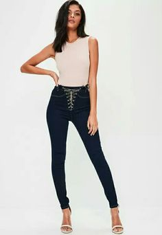 Missguided Blue High Waist Chain Lace Up Skinny Jeans High Waist Jeans, Missguided, Fitness Fashion, Black Jeans, Lace Up, Skinny Jeans, Chain, Denim, Pants