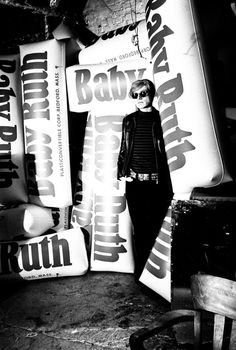 Andy Warhol with Baby Ruth inflatables. Silver Factory, 1966. Photo: Billy Name.