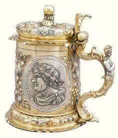 A German parcel-gilt silver tankard, Philipp Küsel, Augsburg, 1691-95