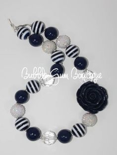 Navy and White Necklace  #bubblegumboutiquefl
