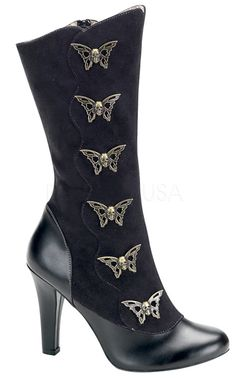 Butterfly skulls, yay! The Violet Vixen - Skull Flutter Steampunk Boots, $89.00 (http://thevioletvixen.com/shoes/skull-flutter-steampunk-boots/)