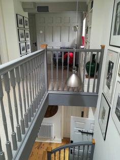 Bannister Ideas Painted, Staircase Banister Ideas, Staircase Remodel, Staircase Makeover, Staircase Design, Painted Staircases, Painted Stairs, 1930s House Renovation, Grey Hallway
