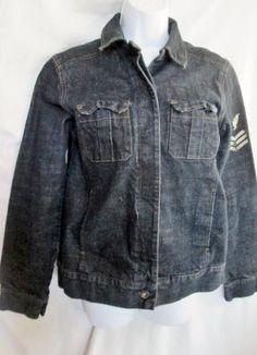 NEW Womens DKNY JEANS Denim Jean Jacket BLUE M Moto Biker Riding Hipster EAGLE STRIPE