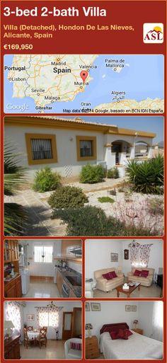 3-bed 2-bath Villa in Villa (Detached), Hondon De Las Nieves, Alicante, Spain ►€169,950 #PropertyForSaleInSpain