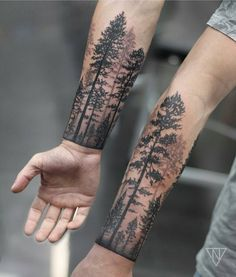 9dfef73d4916e Forrest cuff by niko.vaa Forearm Tree Tattoo, Forest Tattoo Arm, Tree  Tattoos