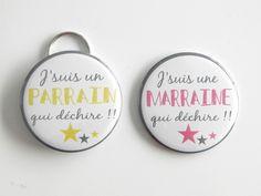 SPECIAL PARRAIN ET MARRAINE QUI DECHIRENT - Lot de 1 Miroir et 1 Porte Clé décapsuleur 56mm Rose et Vert