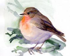 Stampa Red Robin, Robin, pittura, acquerello Stampa giclée di uccello, regalo per gli amanti degli uccelli