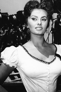 "Sophia Loren on the set of ""Pane, amore e…"" aka ""Scandal in Sorrento"" (1955)."