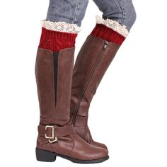 Ladies Knit boot Cuff with lace Ladies knit boot cuffs with lace edge #BuyLadiesAccessories #Buyheadbands #Buylegwarmers
