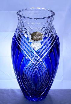 Val St. Lambert Cobalt & Clear Cut-Crystal Vase