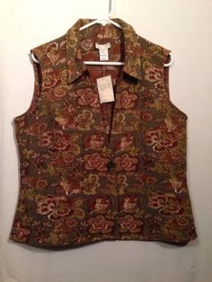 19.76$  Buy now - http://viubw.justgood.pw/vig/item.php?t=pek7cfv0929 - Woman's Christopher Banks Shiny Gold & Copper Floral Vest Sz XL Reversible