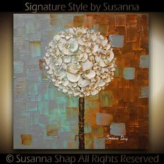 ORIGINAL White Blossoms Lollipop Tree Abstract Contemporary Oil Painting Thick Texture Gallery Fine Art by Susanna Ready to Hang 24x24