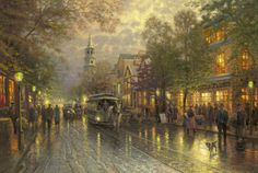Thomas Kinkade painting, Evening on the Avenue is a beautiful nostalgic scene of a rainy evening setting in.