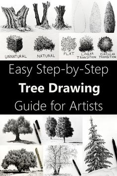 Trees Drawing Tutorial, Eye Drawing Tutorials, Art Tutorials, Pencil Drawings Of Nature, Realistic Drawings, Drawings Of Trees, Drawing Trees, Fine Art Drawing, Painting & Drawing