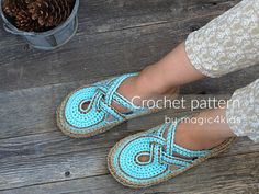 Crochet pattern women crossed straps clogs with rope