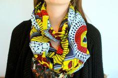 African Wax Block Infinity Scarf: Red, light blue, dark navy, yellow