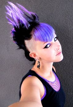 Violet and black mohawk - Makes shaving the sides of your head even cooler