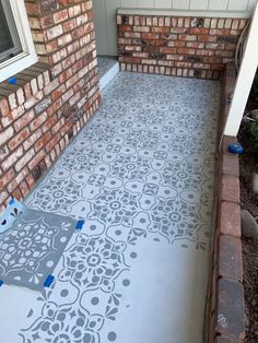 porch paint ideas Ive been seeing these stenciled tile projects all over the internet and always love how they turned out, I would always say I wished I had tile to stencil just to do Painted Front Porches, Concrete Front Porch, Porch Tile, Porch Paint, Porch Flooring, Concrete Patio, Concrete Floors, Stenciled Concrete Floor, Porch Steps