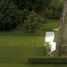 Minimalist garden at the Donjon de Vez by landscape architect Pascal Cribier.