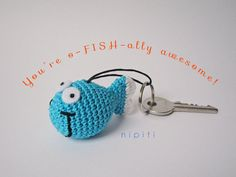 Keychain pendant crochet FISH - Valentines Day gift - New Home - Party favor