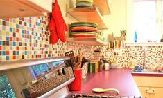 orange gray brick kitchen glass tile - Google Search