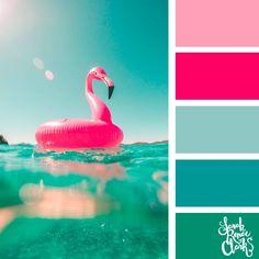 Teal and pink color palette - Sarah Renae Clark - Coloring Book Artist and Designer Summer Color Palettes, Color Schemes Colour Palettes, Living Room Color Schemes, Colour Pallette, Summer Colors, Pink Palette, Pink Summer, Warm Color Schemes, Color Balance