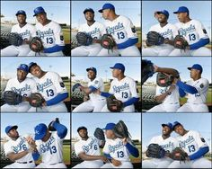 Kanas City Royals players Lorenzo Cain and Salvador Perez traveled together through the line of photographers having their own type of fun at photo day, before Friday's spring training workout for the Royals on February 27, 2015 in Surprise, Ariz.