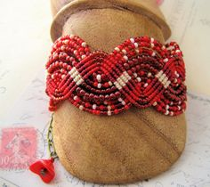 Red Red Roses Beaded Macrame Bracelet by KnotJustMacrame on Etsy