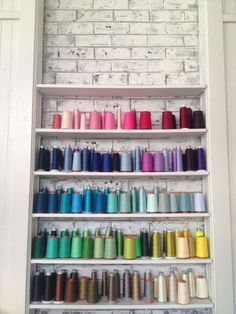 love this beautiful, color-coded thread display. Thread Storage, Sewing Room Storage, Sewing Rooms, Storage Spaces, Craft Organization, Craft Storage, Sewing Art, Sewing Crafts, Diy Crafts For Kids