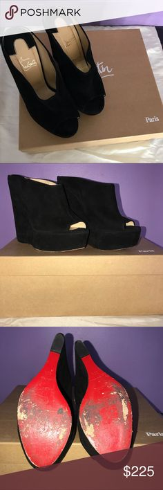 """Christian Louboutin Affiche Suede Wedge in Black Christian Louboutin Affiche suede wedge in black. Good condition, 5 1/2"""" heel height. Bottoms are damaged due to walking. No extreme damage on the suede that is not noticeable in photographs. 100% authentic, bought them at Sax's Fifth Ave in NY for my 16th birthday. Includes original box with purchase but no dust bags (I lost them). Christian Louboutin Shoes Wedges"""