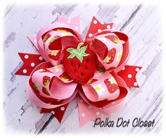 Strawberry pink and red Hair bow Over the top hair bow stacked