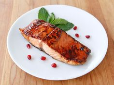 Salmon seared and glazed with pomegranate molasses, finished in a slow oven for a perfect, caramelized finish. Rosh Hashanah, Kosher, Pareve