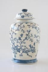 Traditional ginger jar with blue and white Chinese blossom design. Custom Made Furniture, Solid Wood Furniture, Furniture Making, Garden Furniture, Chinese Blossom, Mirror Ornaments, Victoria House, Showroom Design, Ginger Jars