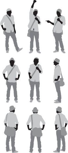 Vectores libres de derechos: Multiple images of a man standing