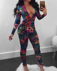 Sexy Deep V Tropical Floral Skinny Jumpsuit - Buy Dresses Sexy Outfits, Sexy Dresses, Cute Outfits, Fashion Outfits, Fashion Trends, Fashion Clothes, Beautiful Dresses, Latest Fashion, Belle Nana