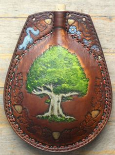 Oak tree and acorns leather flask by ~Eclectixx on deviantART