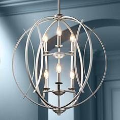 "Possini Euro Spherical 24 ""W Pendelleuchte aus gebürstetem Nickel - Kronleuchter Pendant Lighting, Lamp Design, Kitchen Lighting Fixtures, Modern Chandelier, Light Fixtures, Chandelier Design, Contemporary Chandelier, Chandelier Lighting, Ceiling Lights"