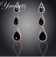 YMENGZ Brand Crystal Water Drop Silver Plated Austrian Crystal Drop Earrings For Women Fashion Jewelry Long Earrings