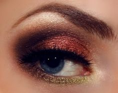 cranberry makeup-inspiration... minus the green-yellow on the top & make it lighter and more natural looking