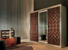 Mirrored wooden wardrobe DIAMOND | Mirrored wardrobe - Bizzotto