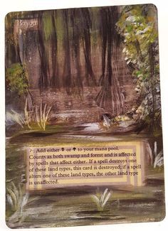 Bayou Revised Dual Land This Is Only One Of My Altered Cards From This Weeks Batch! To See Them All Go To   http://stores.ebay.com/MTGAlteredMagicCards #MTG #MtgAltered #MtgAlteredArt #MtgHandPainted #MtgExtendedArt #Magic #MagicTheGathering #MtgAlter #Wotc #Scg #Tcg