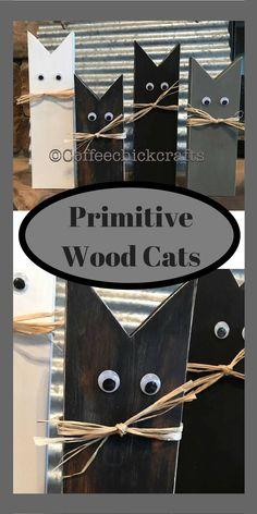 Cute wooden cat decor. #halloween #cat #diy #afflilnk