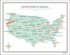 USA Customized Map  16x20 by VassiSlavova on Etsy