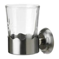 "LILLHOLMEN toothbrush cup with holder, glass Diameter: 3 ¼ "" Height: 5 "" Diameter: 8.2 cm Height: 13 cm"