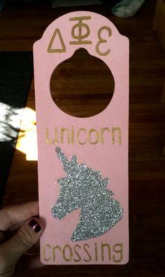 Delta Phi Epsilon ΔΦΕ dphie door hanger unicorn crossing sorority Greek pink gold glitter big little biglittle