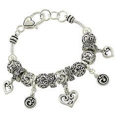 Brighton BAY Silver Crystal Heart Beaded Slider Premier Charm Statement Bracelet