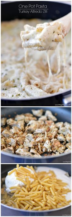 One Pot Pasta: This skillet recipe for Turkey Alfredo Ziti is a delicious way to use up leftover turkey from Thanksgiving!