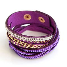 F&U 2017 New Fashion Crystal Wide Magnetic Leather bracelets & bangles Multilayer Bracelets Jewelry for Women Men Gift Cheap Bracelets, Bangle Bracelets, Bangles, Leather Bracelets, New Fashion, Women Jewelry, Purple, Gifts, Stuff To Buy