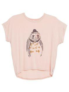 Owl-print T-shirt with drop hem Petit Pois (R210)