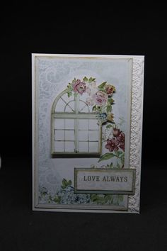 Todays card was actually one we did in one of my classes.The paper is a piece of the 12 x 12 patterned paper from the Kaisercraft Rose Avenue collection, and I just added a strip of lace down the s… Love Always, Scrapbook Cards, Scrapbooking, Get Well Cards, Rose Cottage, Flower Cards, Thing 1 Thing 2, I Card, Birthday Cards